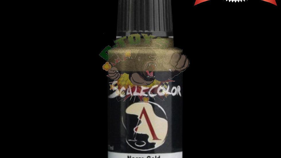 สีสูตรน้ำผสมเม็ดโลหะ สีโมเดล รถเหล็ก กันดั้ม  Scale 75 Necro Gold 17 ml