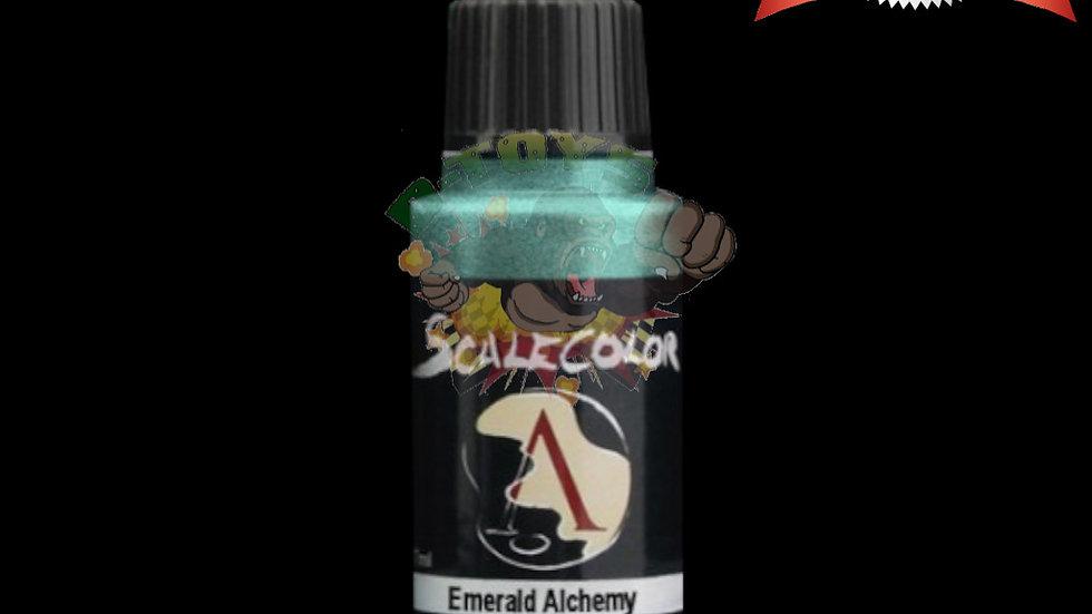 สีสูตรน้ำผสมเม็ดโลหะ สีโมเดล รถเหล็ก กันดั้ม  Scale 75 Emerald Alchemy 17 ml