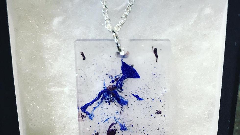 Blue Splash Resin Necklace