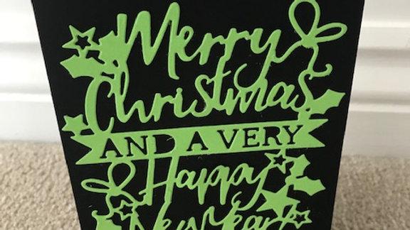 Die Cut Merry Christmas green