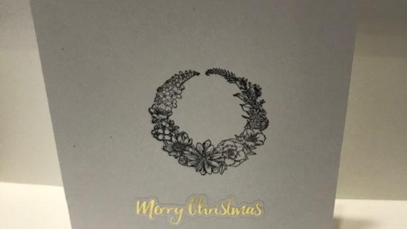 Merry Christmas gold wreath