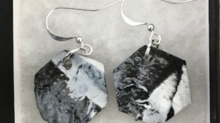 Single Pendent black and white marble earrings