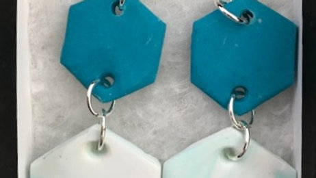 Double Pendent turquoise earrings