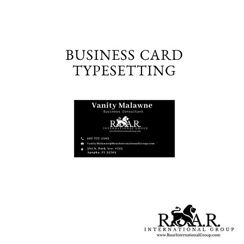 Typesetting: Business Card