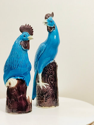 Pair of turquoise chinese roosters