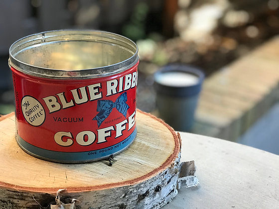 Vintage Blue Ribbon Coffee Tin