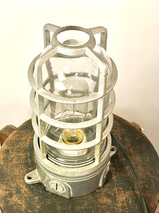 Vintage Caged Ship Light  - Rewired Table Lamp with switch