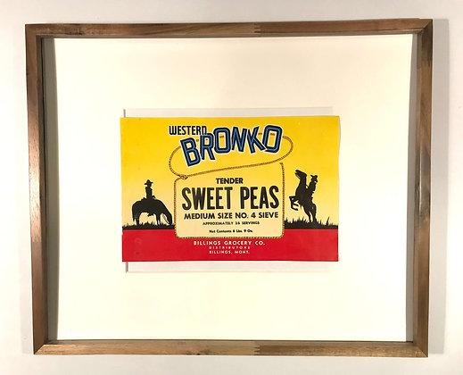 Western Bronco Sweet Peas Vintage Crate Label