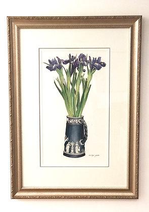 Original Marilyn Goslin Painting Flowers in Vase Framed