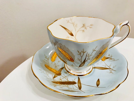 'Golden Wheat' Queen Anne tea cup and saucer set
