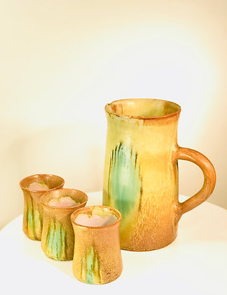 Japanese Stoneware Server and 6 Drinking Cups
