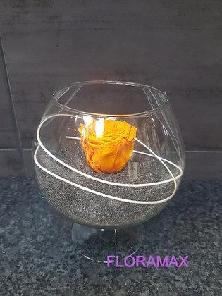 Rose éternelle dans un vase cognac