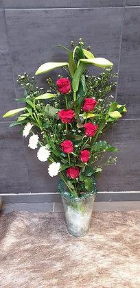 Bouquet plat (Rouge et Blanc)