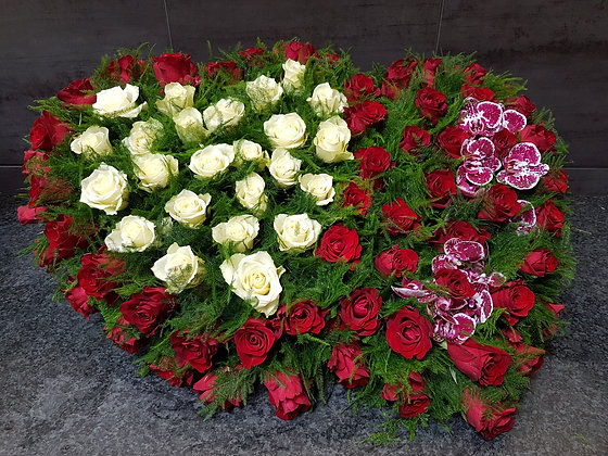 Double cœur Rouge / Blanc (CO279)