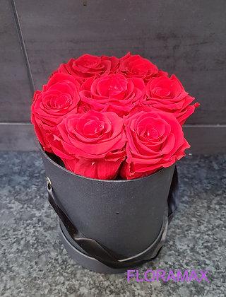 7 roses éternelles en boîte à chapeau