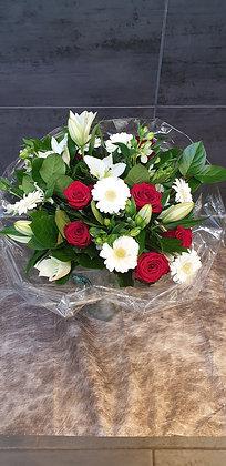 Bouquet rond (Rouge et Blanc)