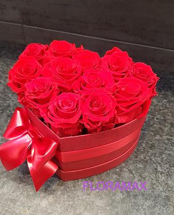 12 roses éternelles en cœur