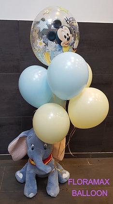 Peluche Dumbo et grappe de ballons hélium     Ref :    SB1051