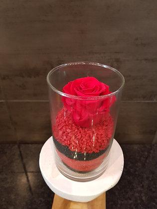 Rose éternelle en vase (Rouge)