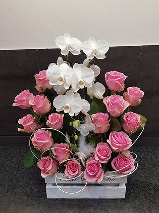 Montage naturel avec des roses