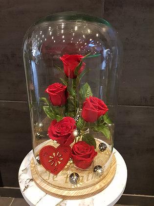 """5 roses éternelles sous cloche lumineuse """"Je t'aime"""""""