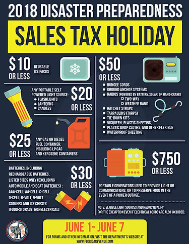 Disaster Preparedness Sales Tax Holiday-