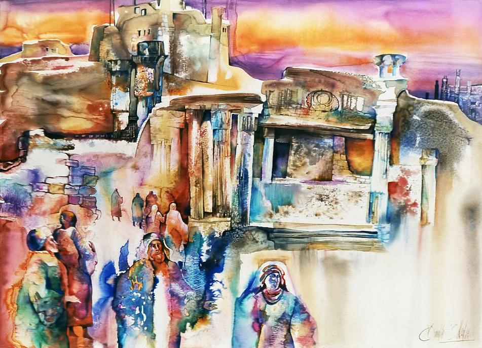 1984 - TEMPLES OF INNER WISDOM - Watercolor - 30X40