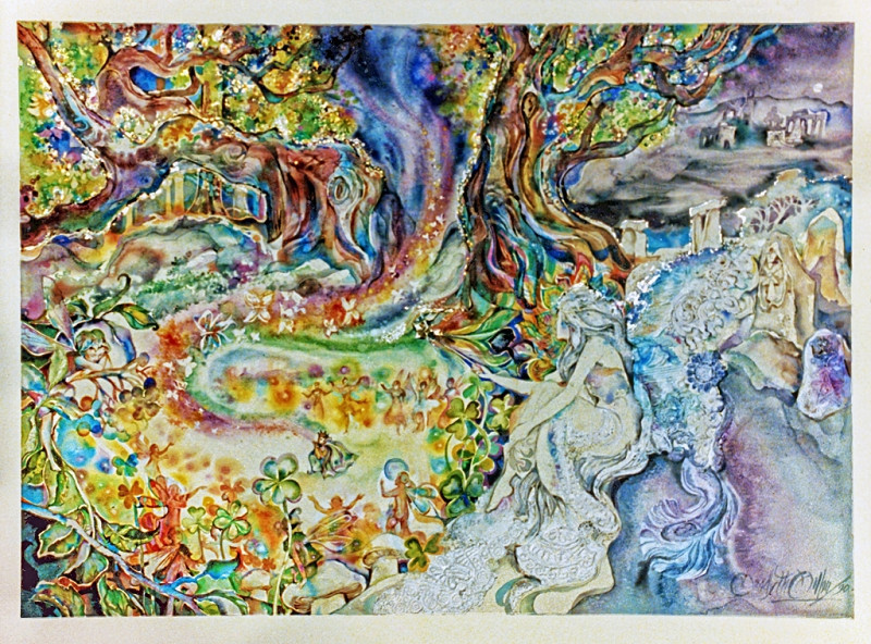 1990 - THE FAIRY TREE - Watercolor on Board - 30X40