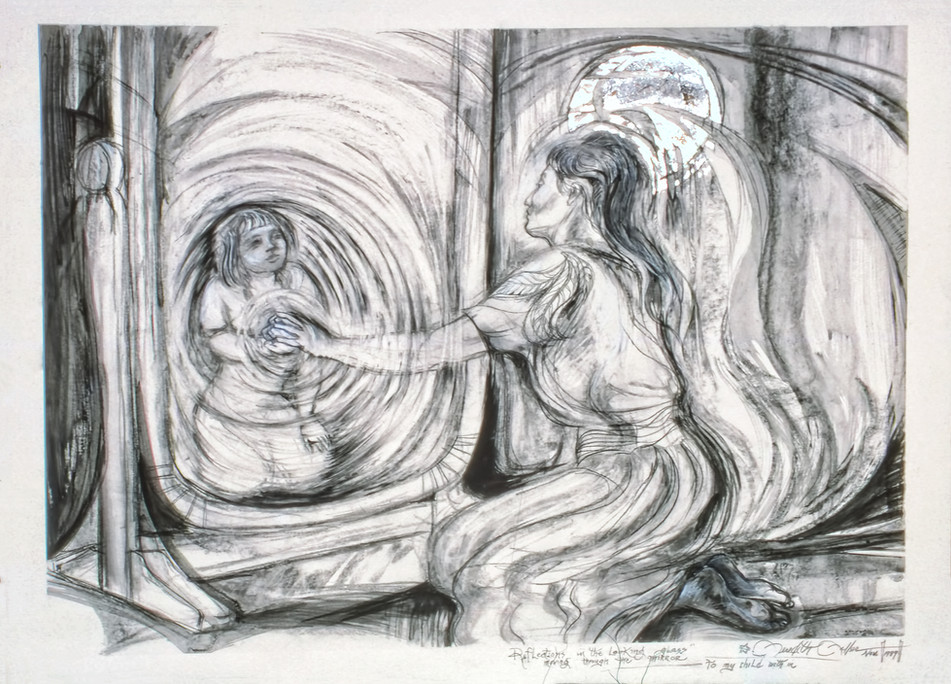 1989 - REFLECTIONS IN THE LOOKING GLASS -  Charcoal - 30X40
