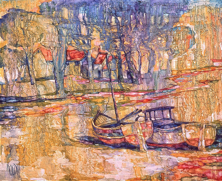 1973 – BOATS AT REST - Oil on Canvas with Texture - 40X60