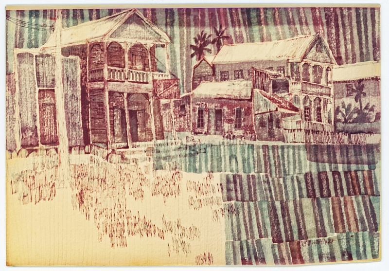1970 - KEY WEST STREET - Watercolor on Paper - 20X30