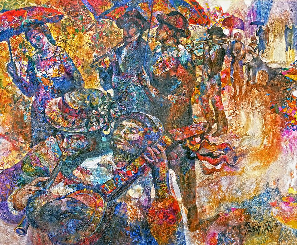 1980 - JAZZ IN THE RAIN - Oil on Canvas - 40X50
