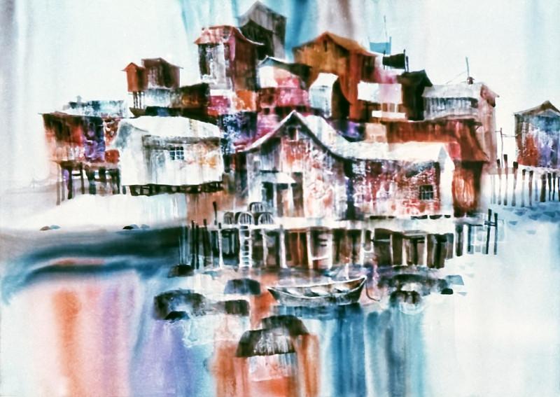 1973 – DRY DOCK - Watercolor on Board - 30X40