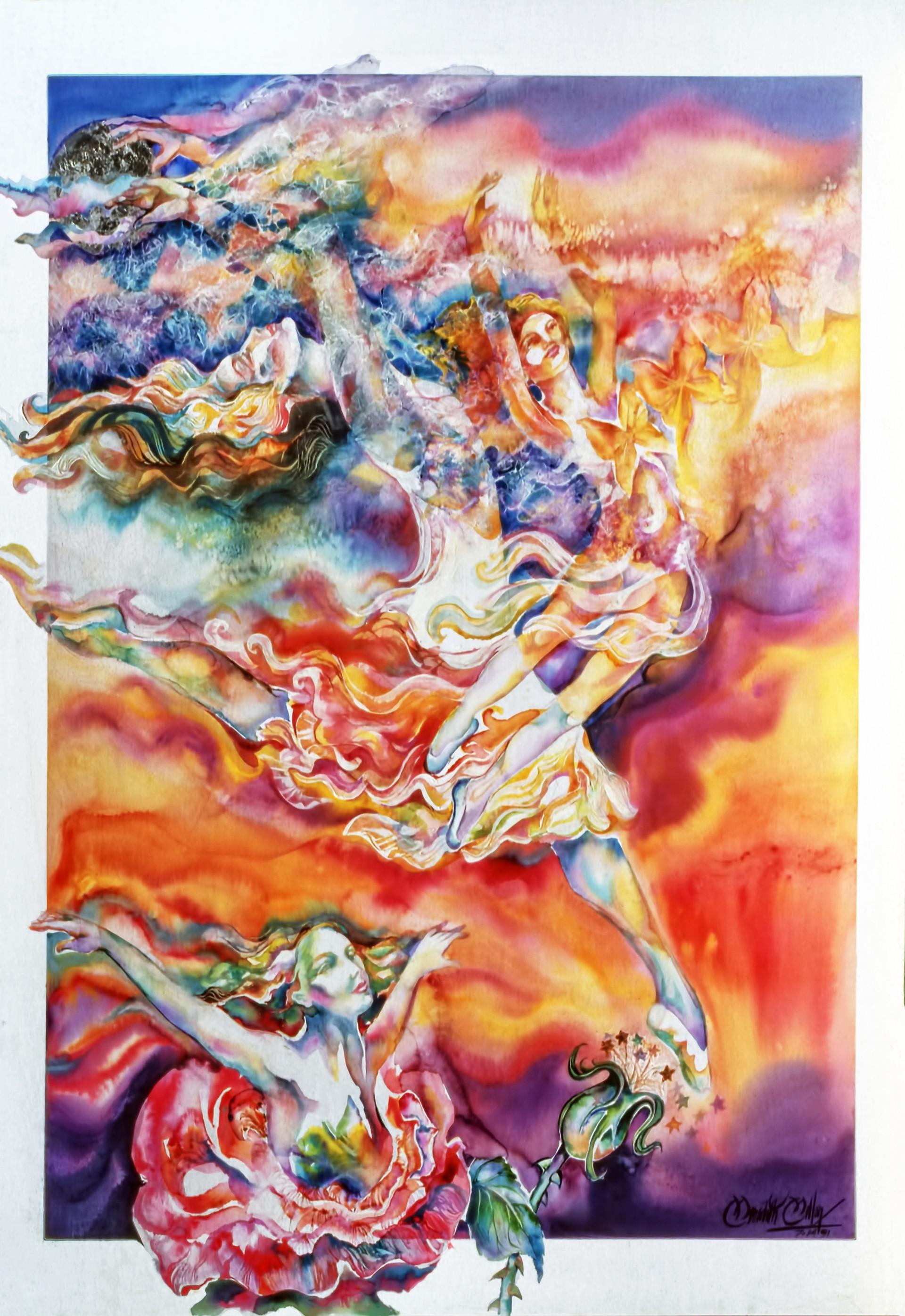1991 - HEALING ROSE - Watercolor - 30X40