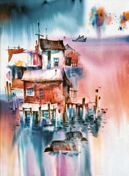 1973 – FIREWORK DOCK - Watercolor on Board - 30x40