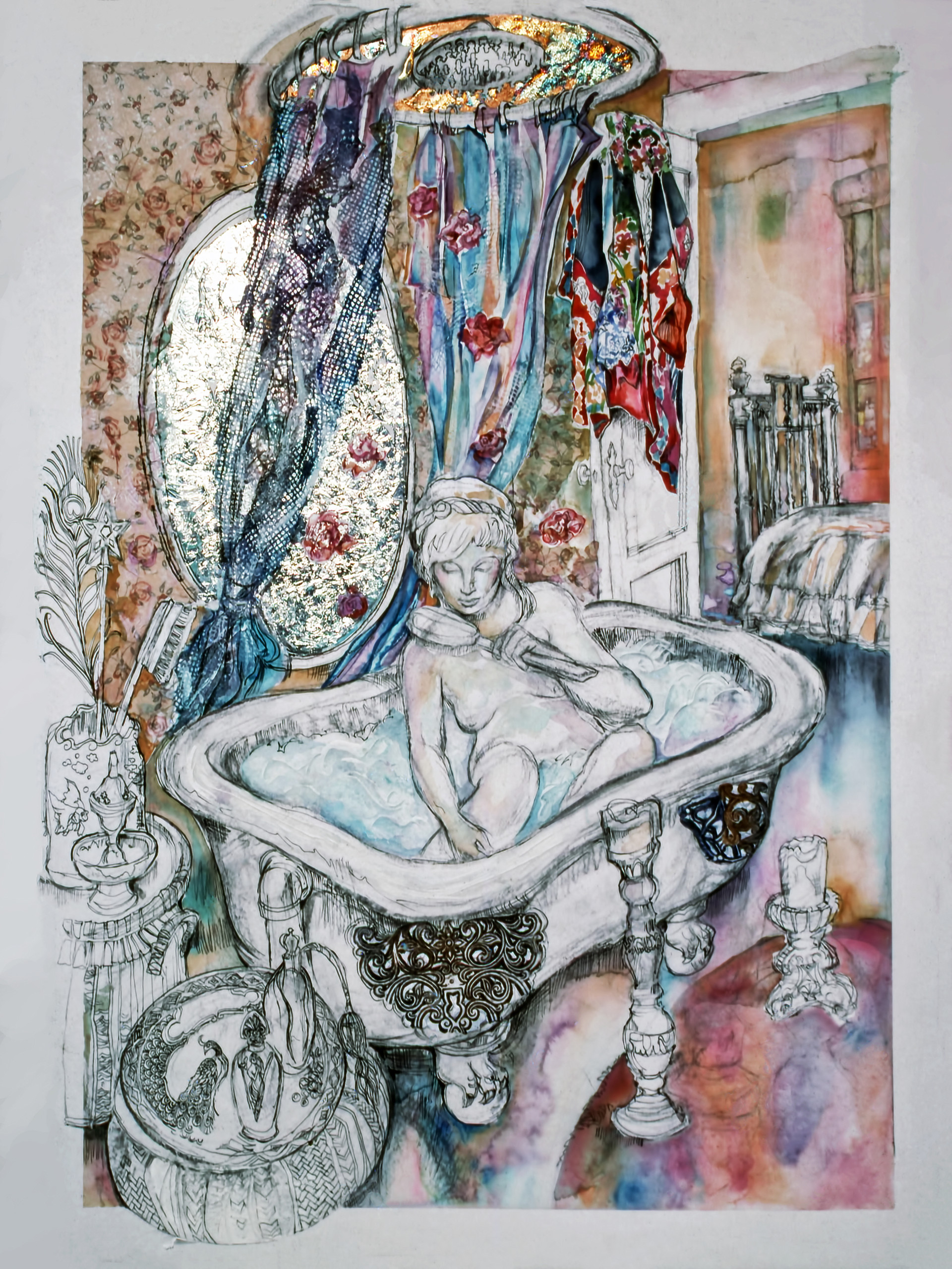 1989 - MARY BATHING- Watercolor and Charcoal - 30X40