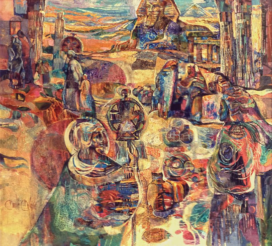 1984 - AVENUE OF THE SPHINX -  Oil Collage - 40X50