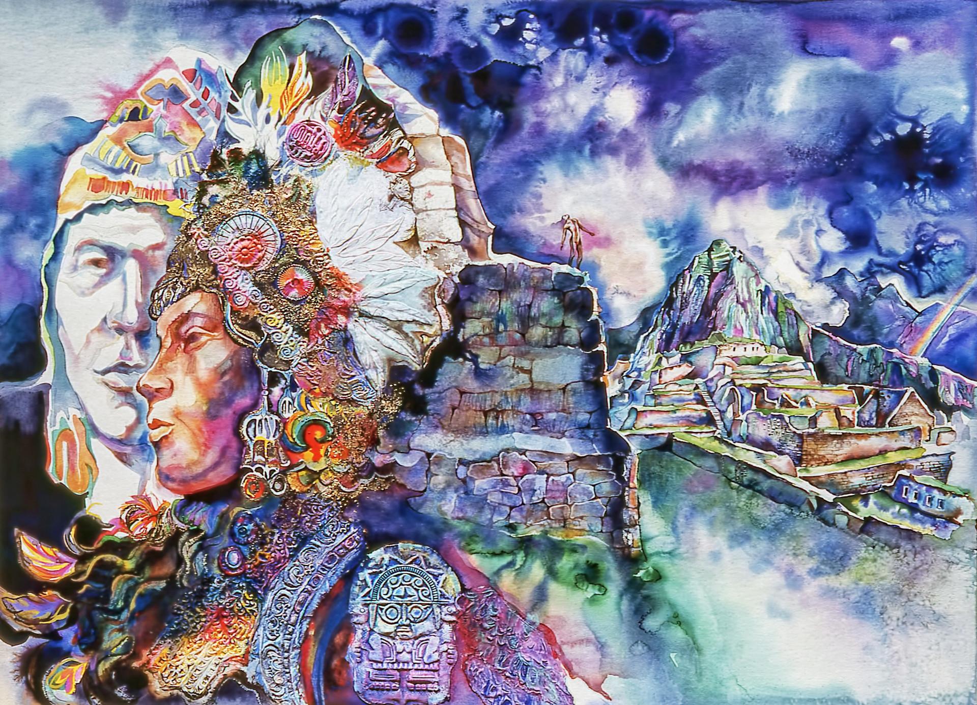 1985 - MACHU PICHU REAWAKENED - Watercolor - 30X40