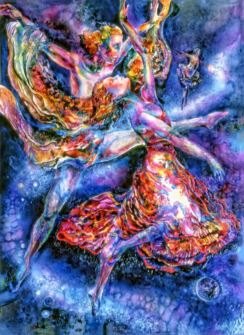 1983 - COSMIC DANCERS - Oil and watercolor - 30X40