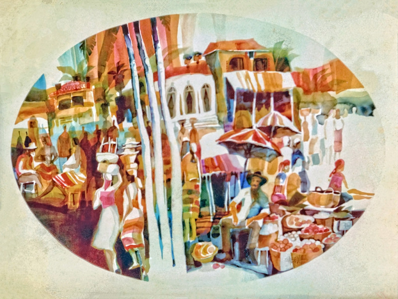 1975 - CARRIBEAN MARKET - Watercolor on Board - 40X60