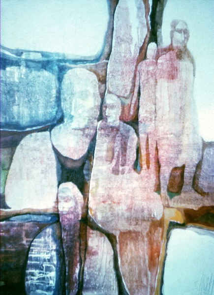1973 – TRAPPED IN STONES - Oil Wash on Canvas - 25X30