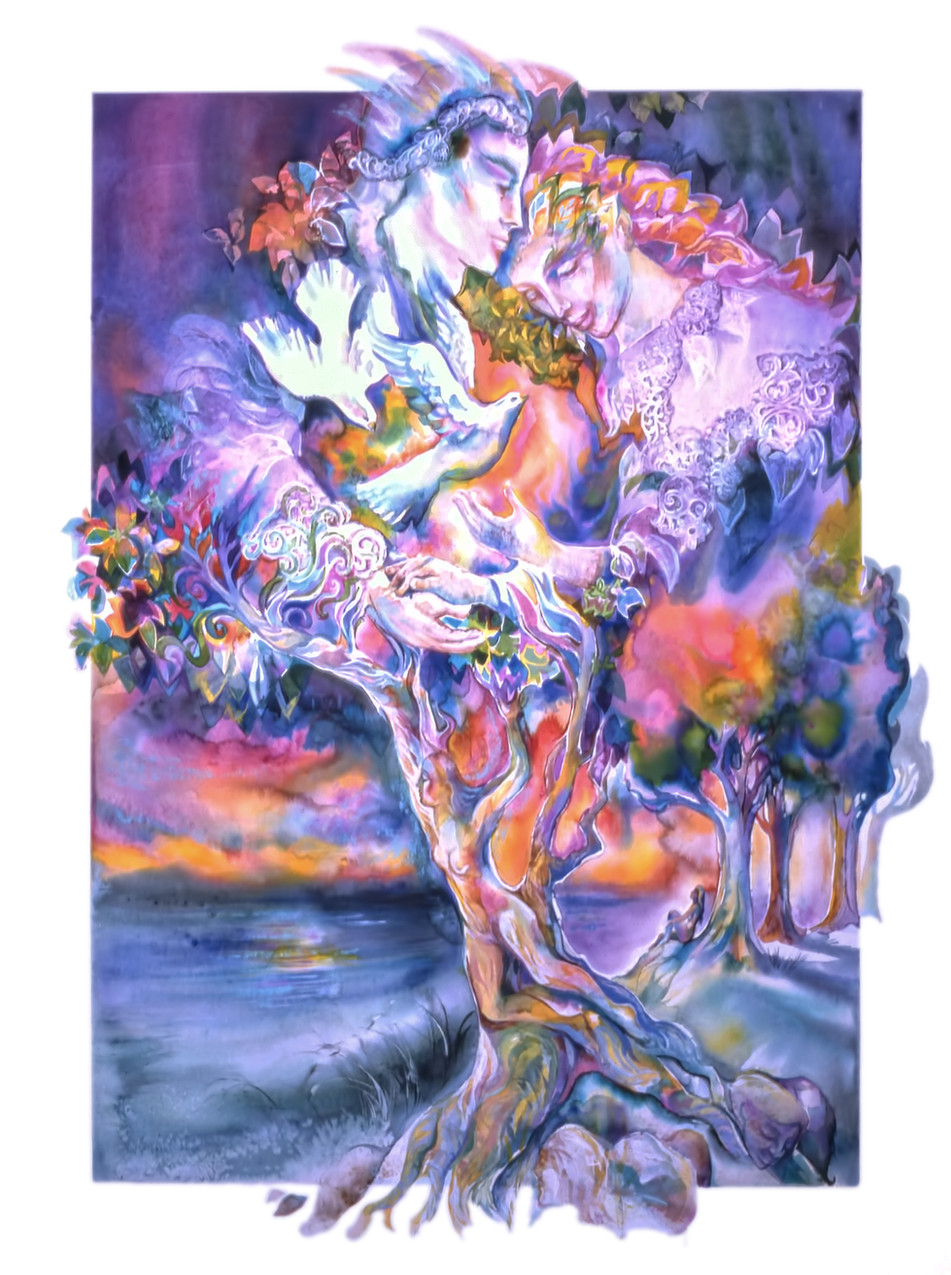 1982 - TREE OF LOVE - Watercolor and Oil - 30X40