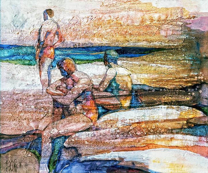 1974 – ON THE BEACH - Oil on Canvas - 20X24