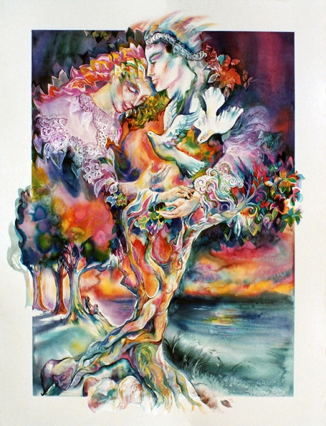 1981 - TREE OF LIFE IMAGININGS - Watercolor on Board with Resin Covering - 30X40