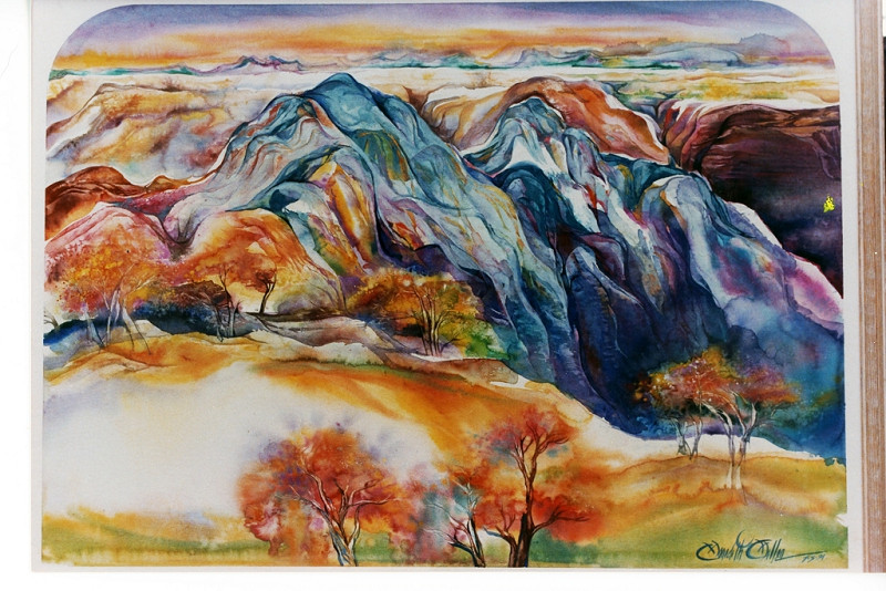 1991 CANYON GORGE  - Watercolor on Board - 30X 40