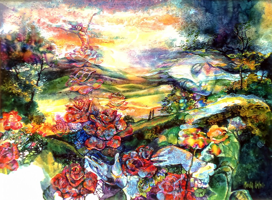 1982 -  BLOSSOMING NEW LOVE - Oil and Watercolor -30X40
