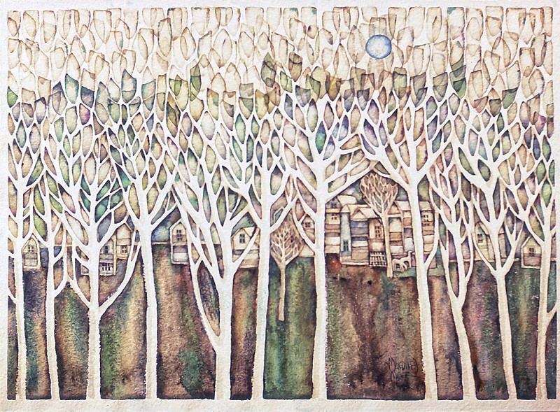 1971 – BEYOND THE TREES - Watercolor on Paper - 30X40
