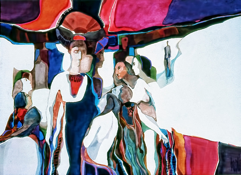 1973 – JOURNEY OF THE DISCIPLES - Watercolor on Board - 30X40