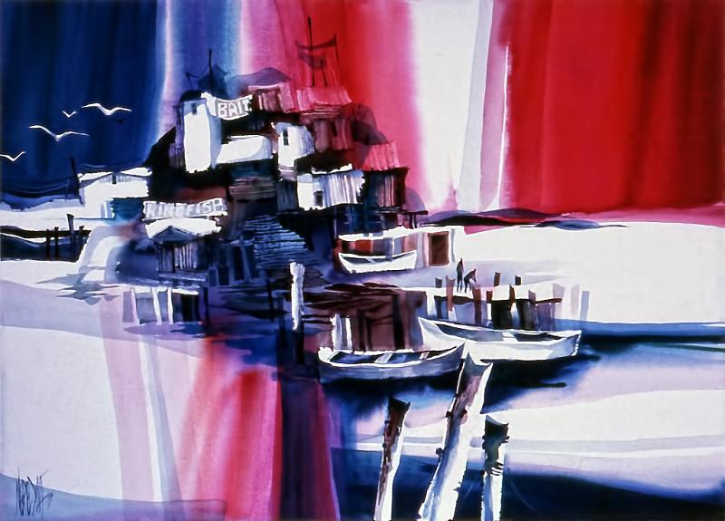 1974 – WHARF SCENE - Watercolor on Board - 30X40