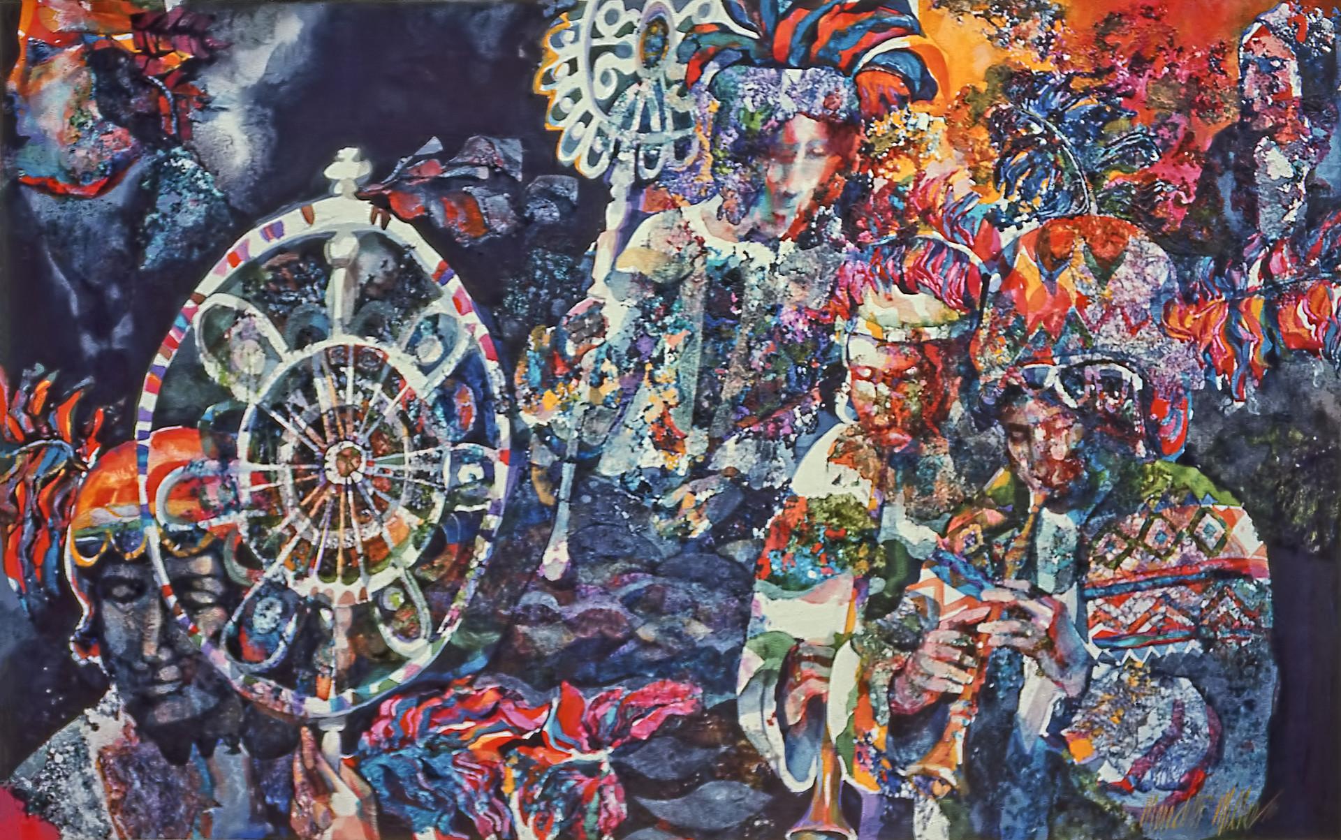 1976 - PARADE WHEEL - Watercolor on Board - 40X60
